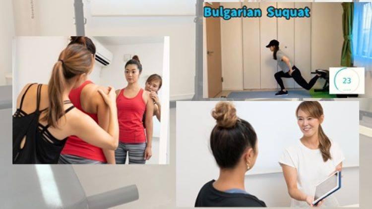 女性パーソナルトレーナーがトレーニング指導している風景