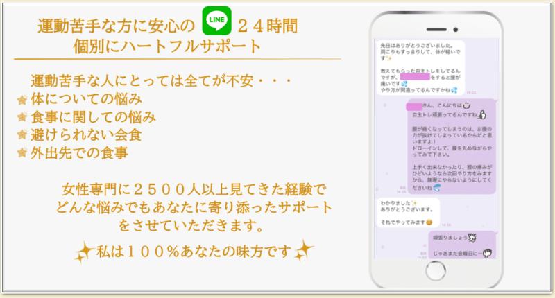 女性専門パーソナルジムSunnySide エイジレスボディリメイクトレーナー柳田純江のLINEによるハートフルサポートの説明画像